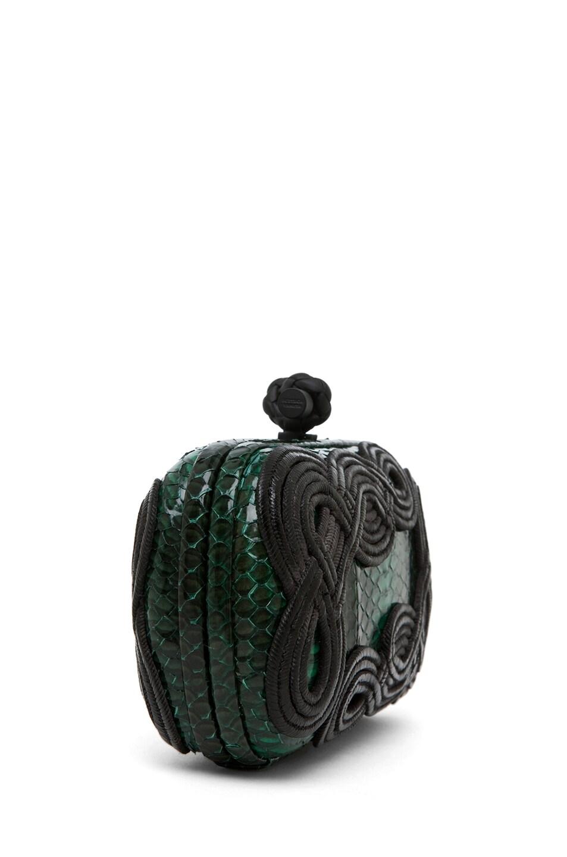 Image 3 of Bottega Veneta Knot Snakeskin Passamaneria Clutch in Green