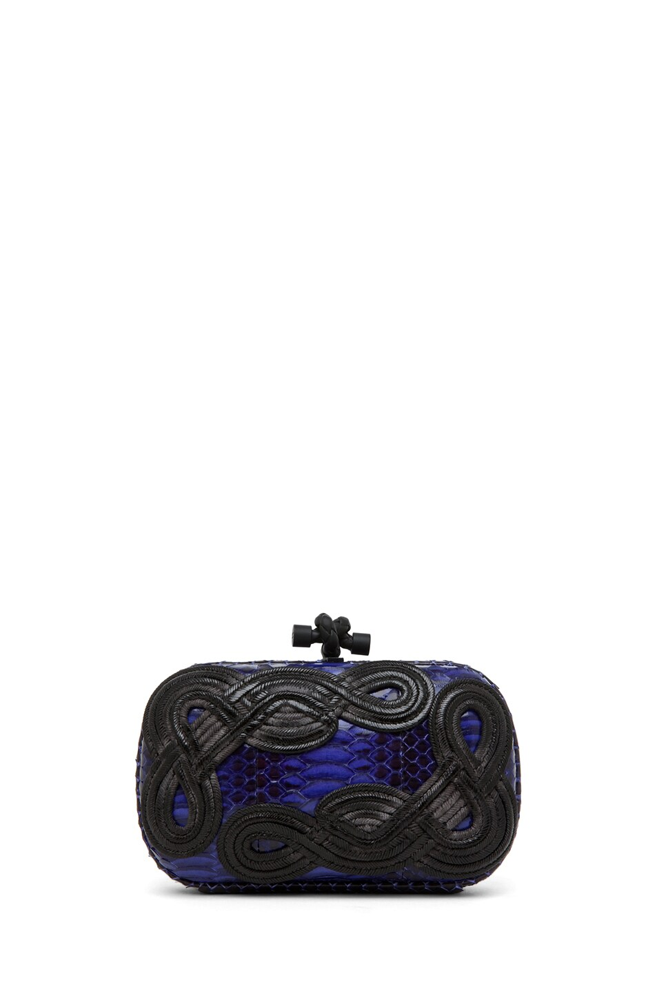 Image 1 of Bottega Veneta Knot Snakeskin Passamaneria Clutch in Purple