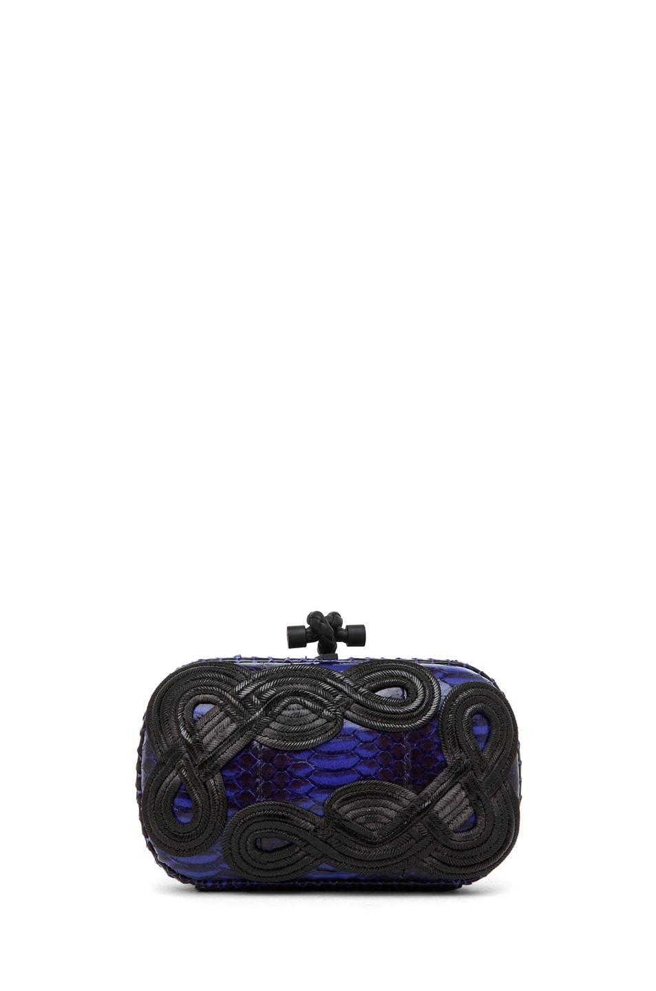 Image 2 of Bottega Veneta Knot Snakeskin Passamaneria Clutch in Purple