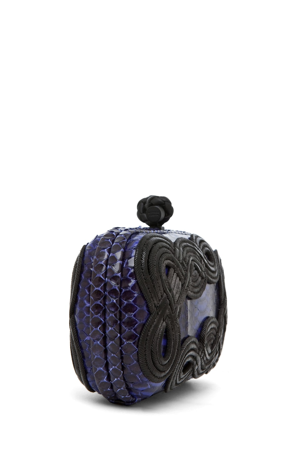 Image 3 of Bottega Veneta Knot Snakeskin Passamaneria Clutch in Purple