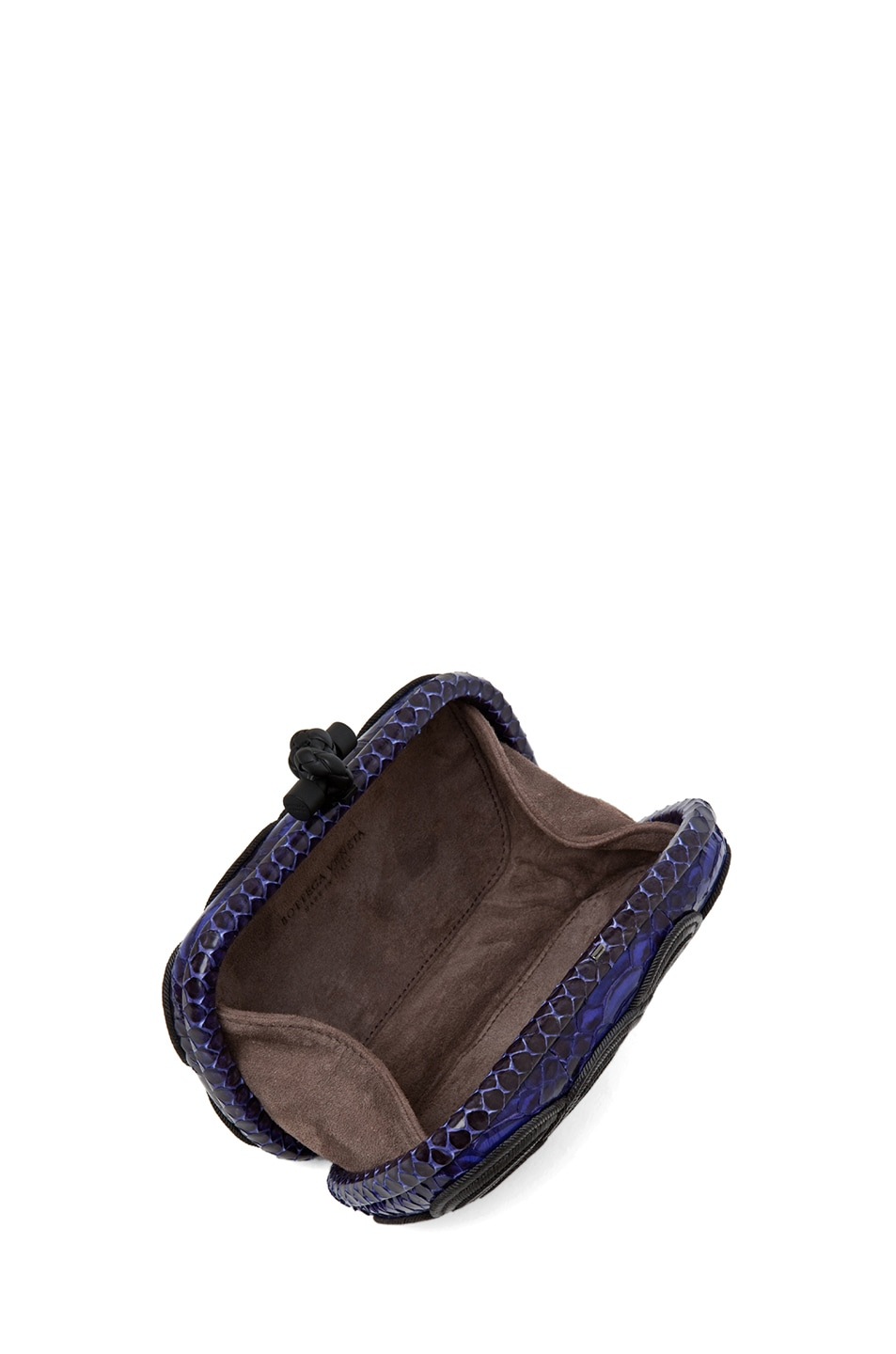 Image 4 of Bottega Veneta Knot Snakeskin Passamaneria Clutch in Purple