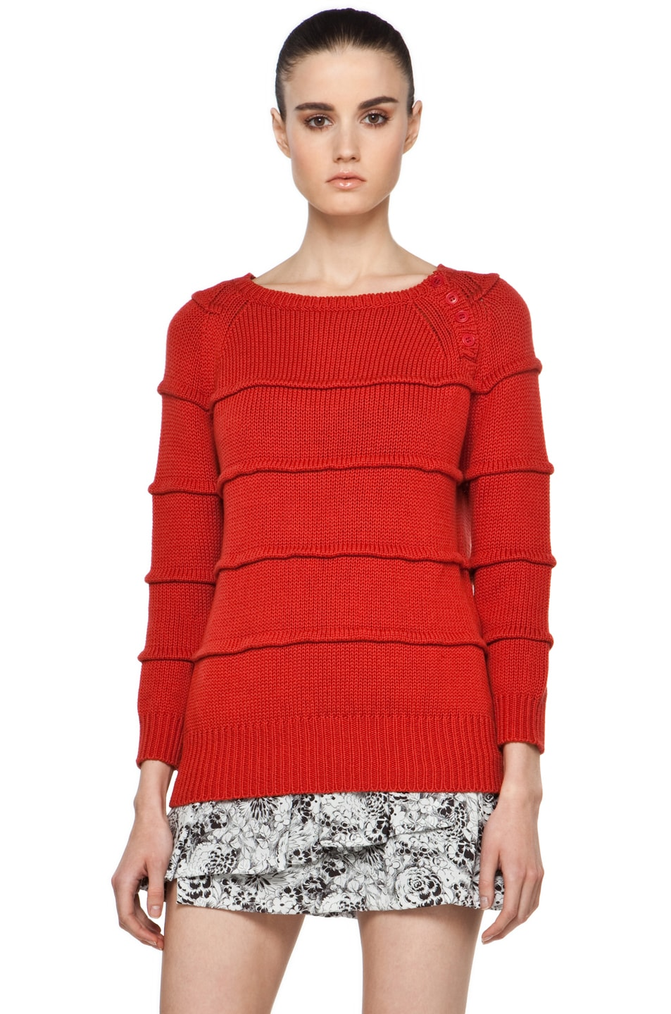 Image 1 of Boy. by Band of Outsiders Ribbed Striped Sweater in Red