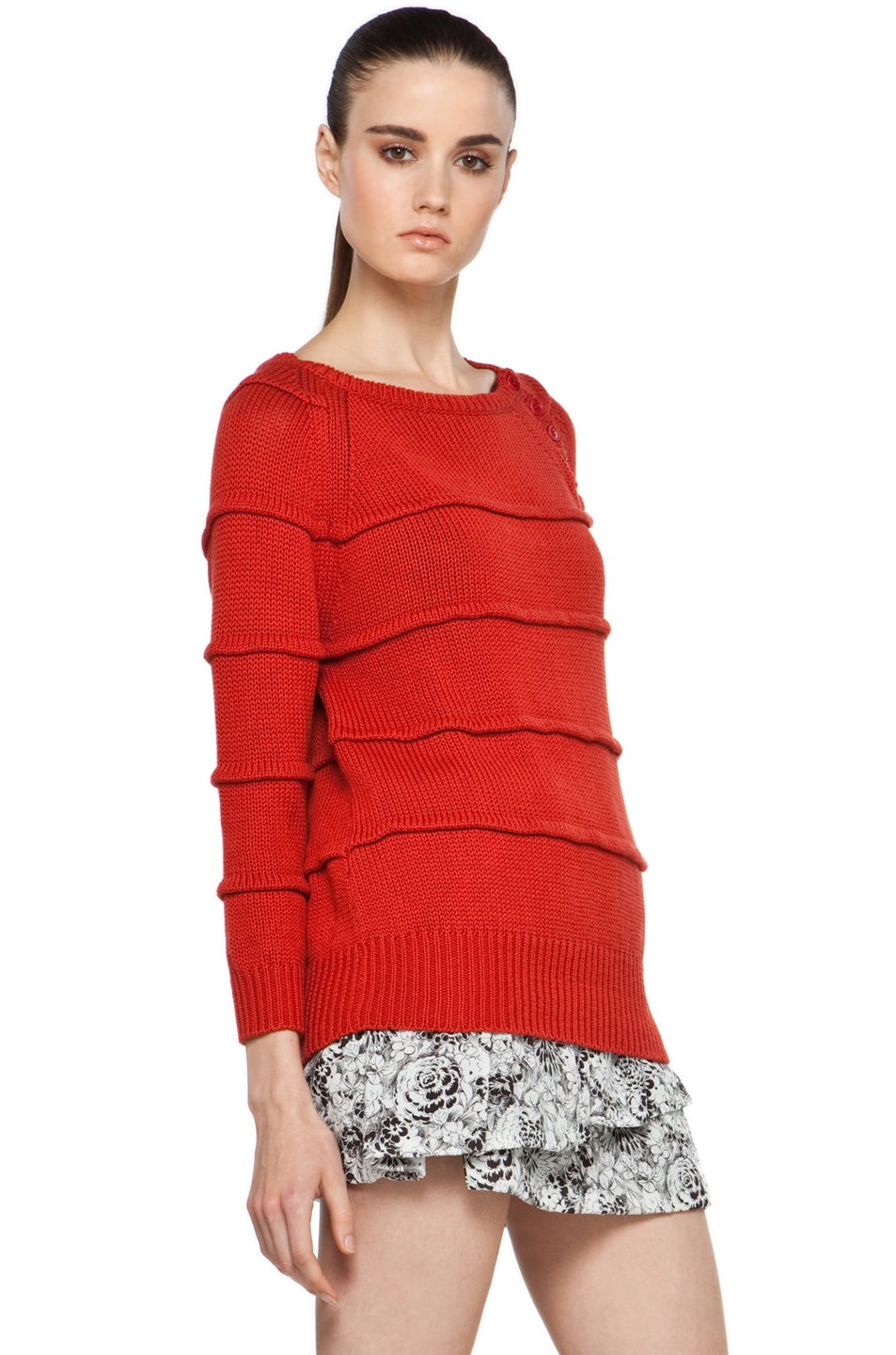 Image 3 of Boy. by Band of Outsiders Ribbed Striped Sweater in Red