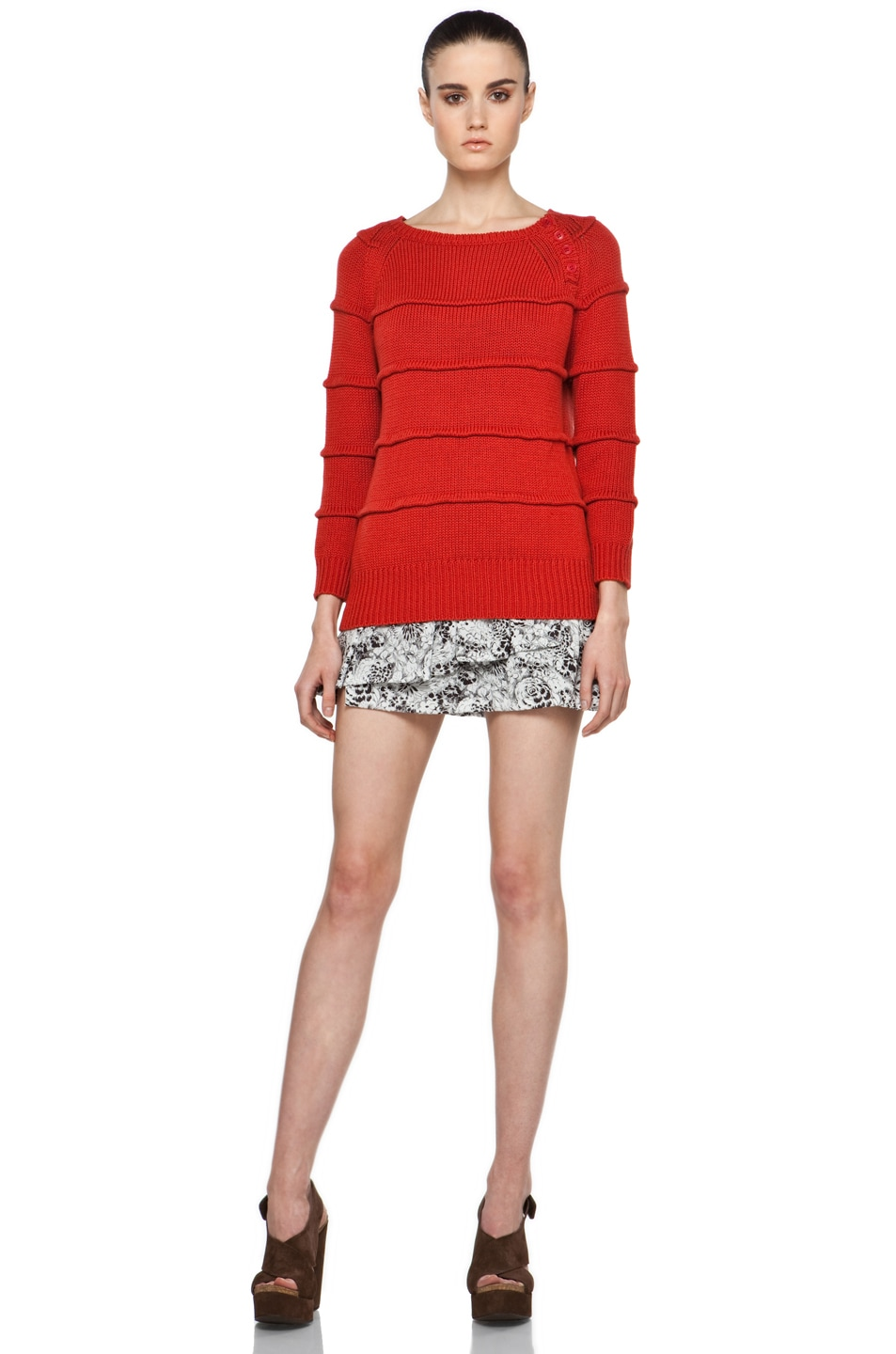 Image 5 of Boy. by Band of Outsiders Ribbed Striped Sweater in Red