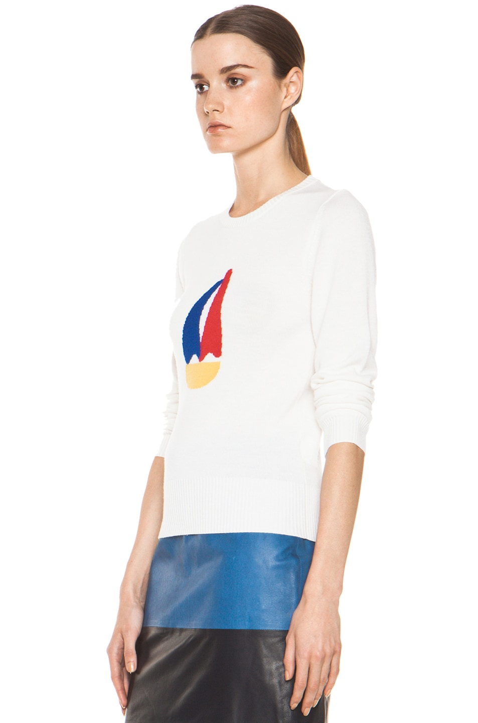 Image 2 of Boy. by Band of Outsiders Sailboat Intarsia Sweater in White