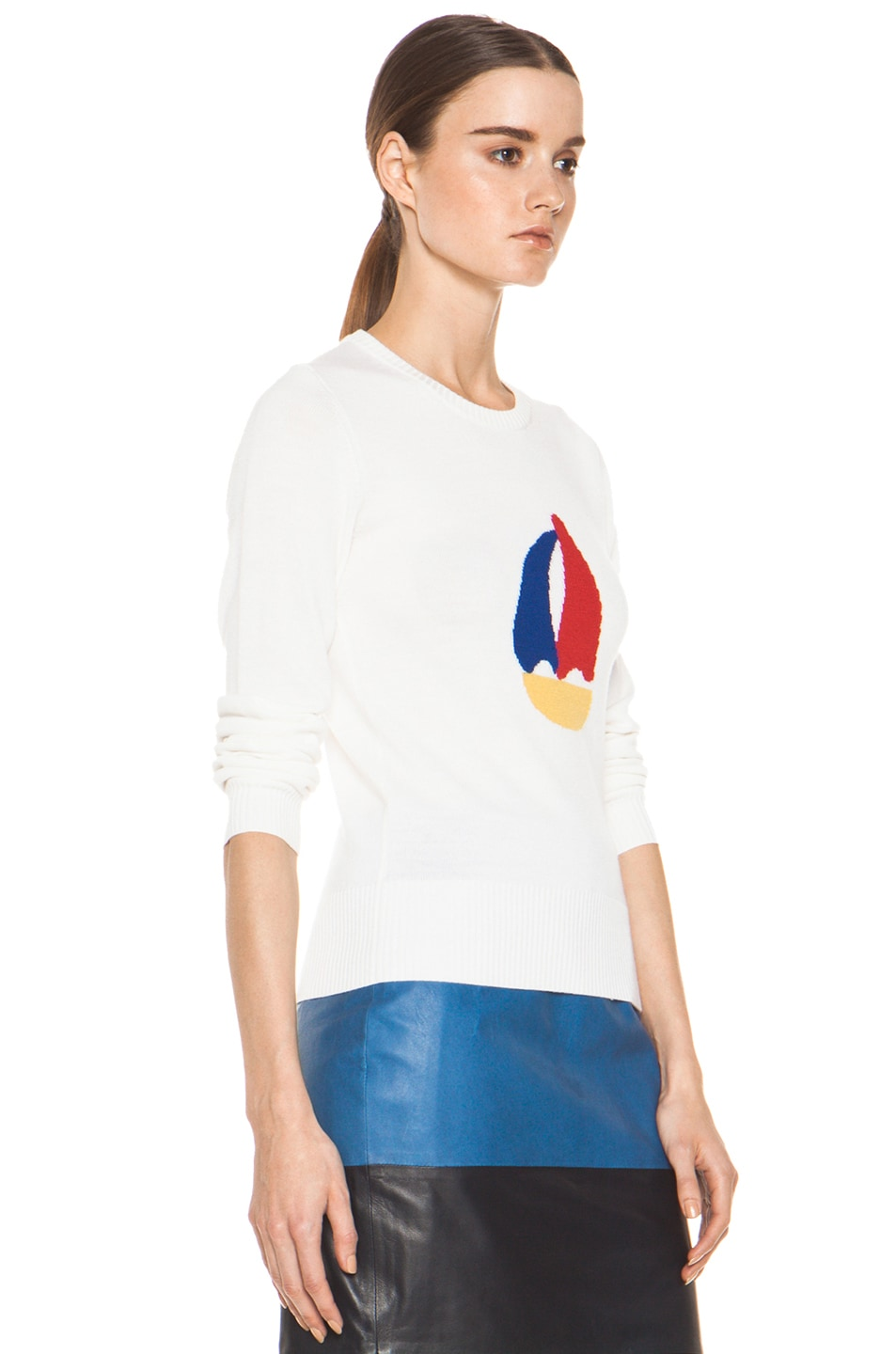 Image 3 of Boy. by Band of Outsiders Sailboat Intarsia Sweater in White