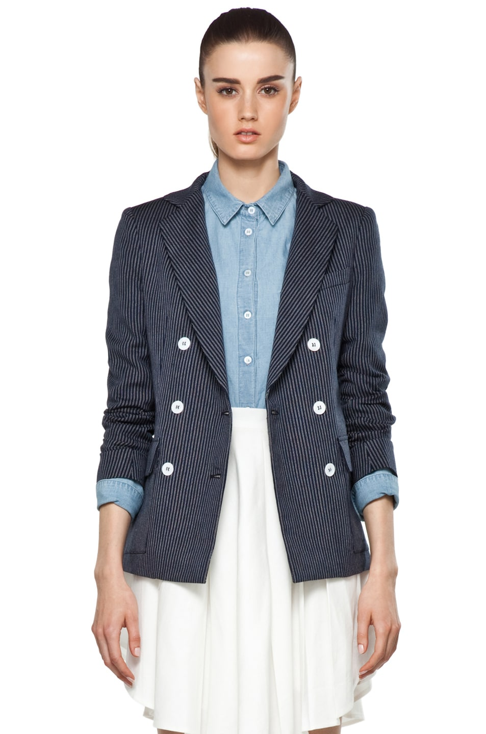 Image 1 of Boy. by Band of Outsiders Oversize Double Breasted Blazer in Blue