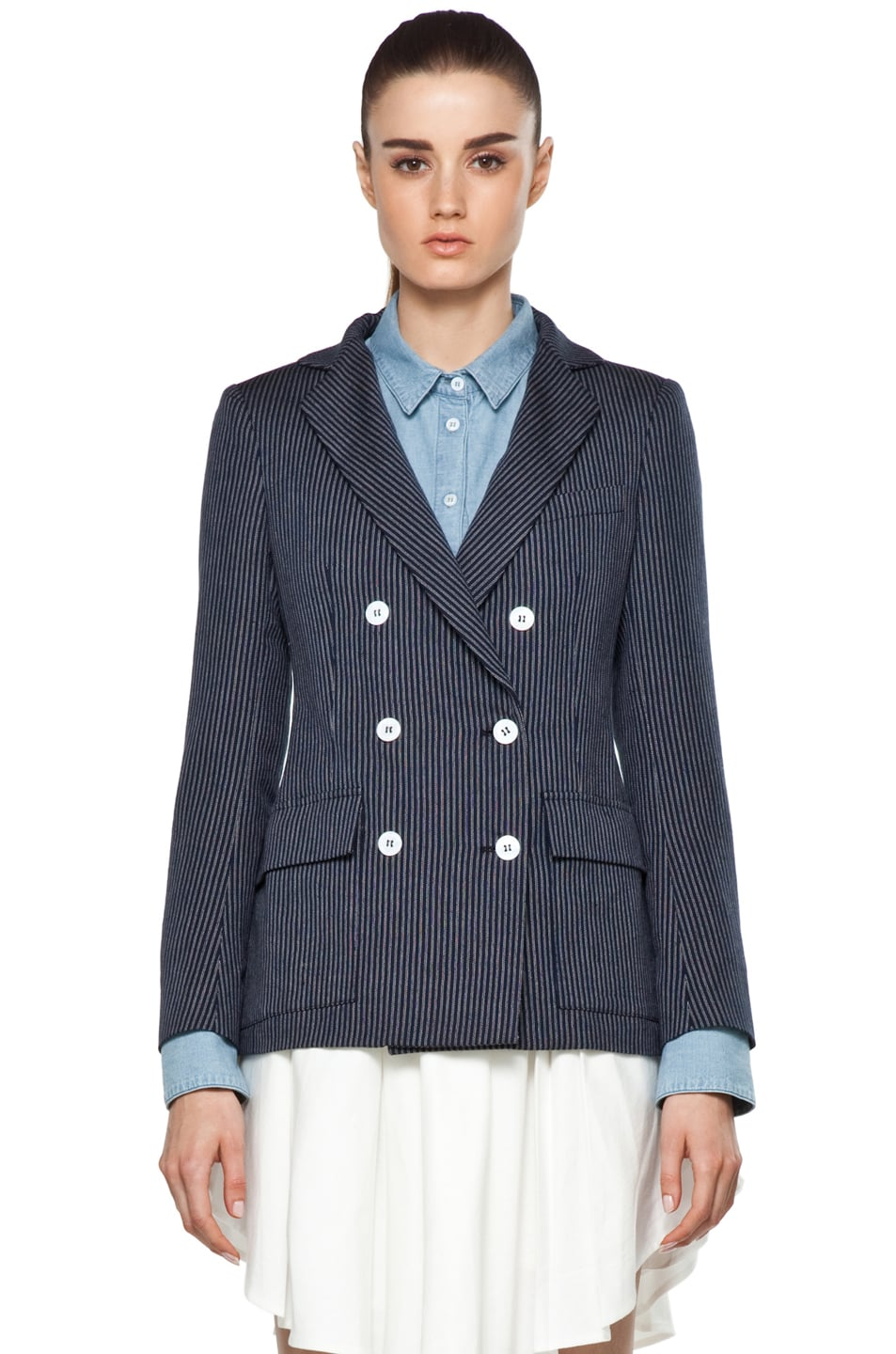 Image 2 of Boy. by Band of Outsiders Oversize Double Breasted Blazer in Blue