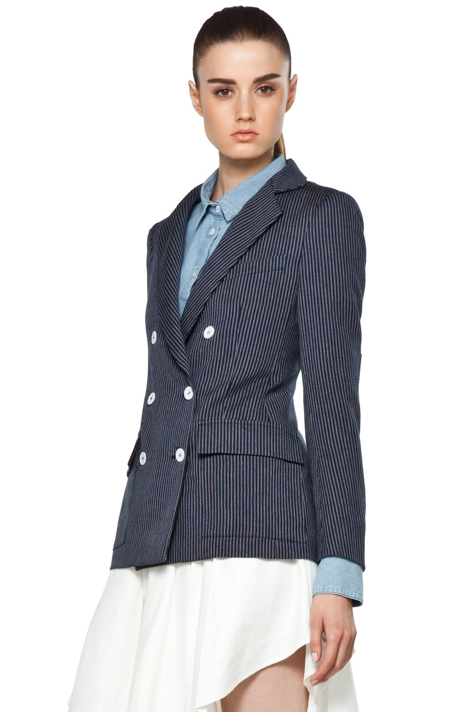 Image 3 of Boy. by Band of Outsiders Oversize Double Breasted Blazer in Blue
