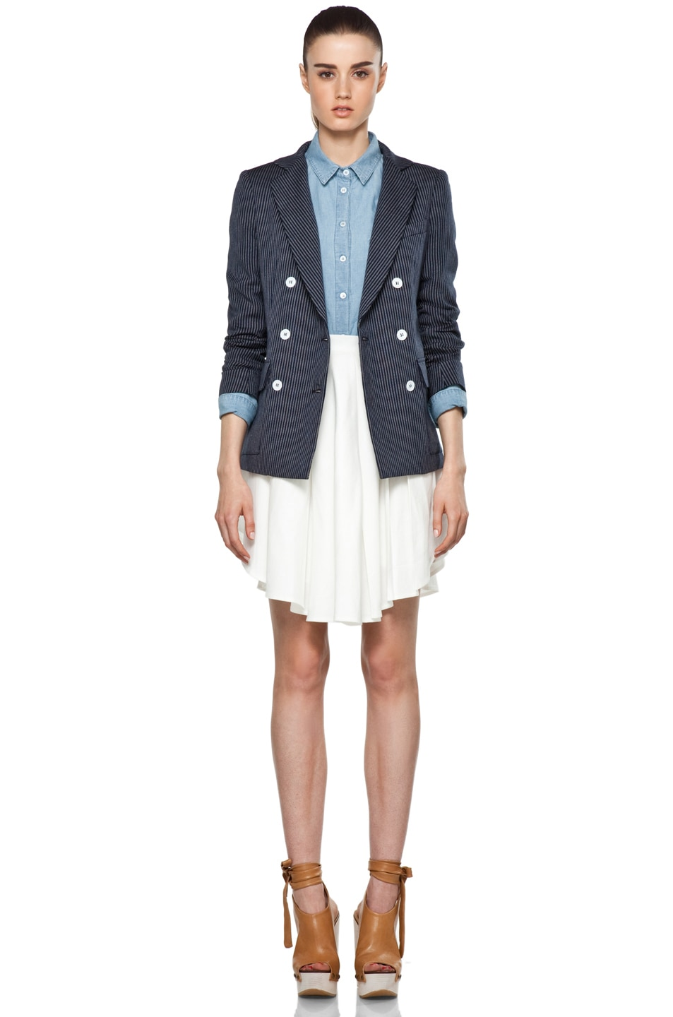Image 6 of Boy. by Band of Outsiders Oversize Double Breasted Blazer in Blue
