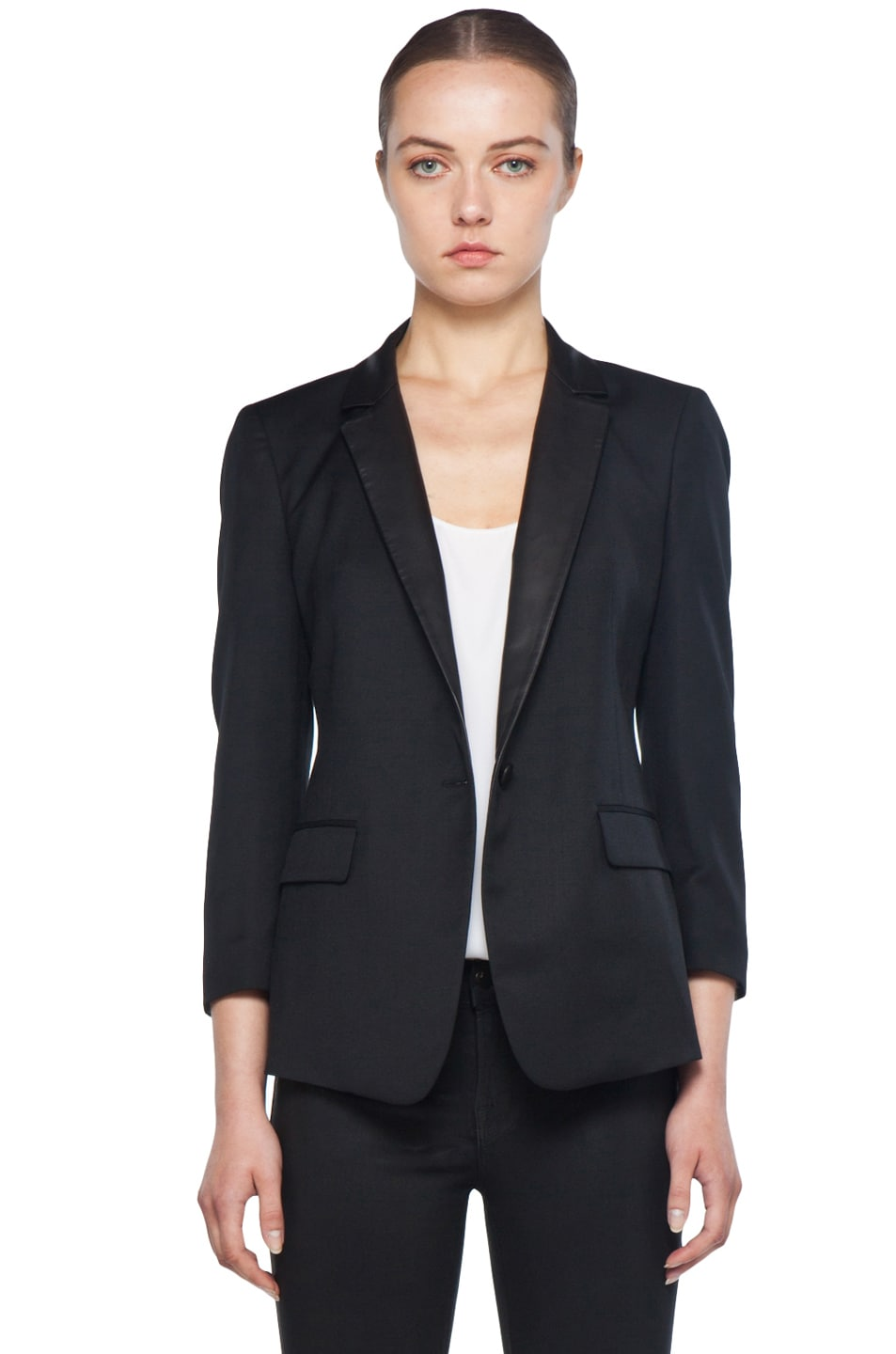 Image 1 of Boy Rope Shoulder Jacket with Leather Lapels in Black