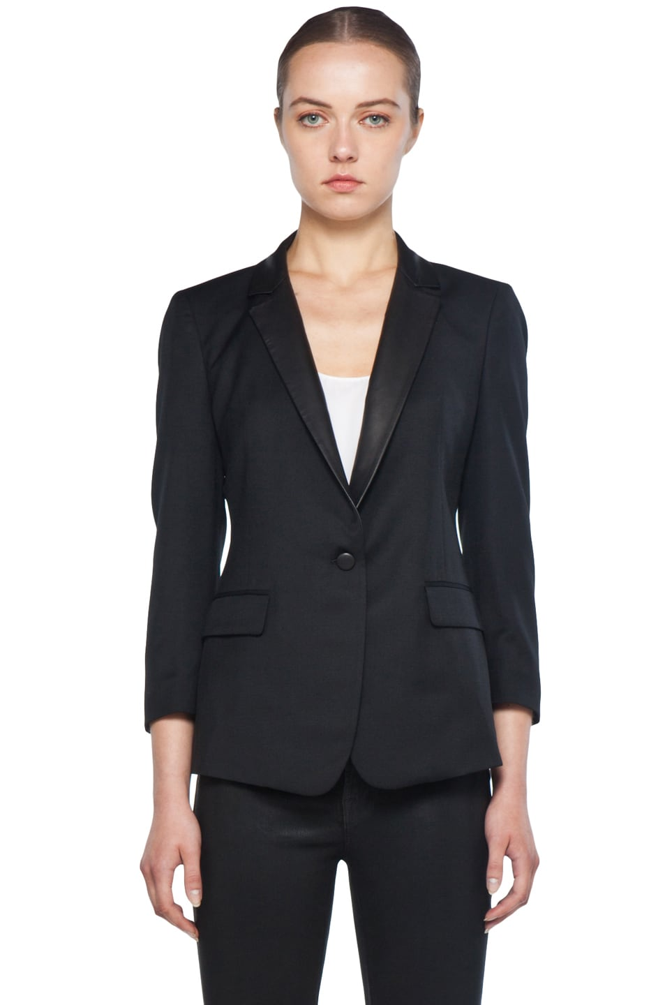 Image 2 of Boy Rope Shoulder Jacket with Leather Lapels in Black