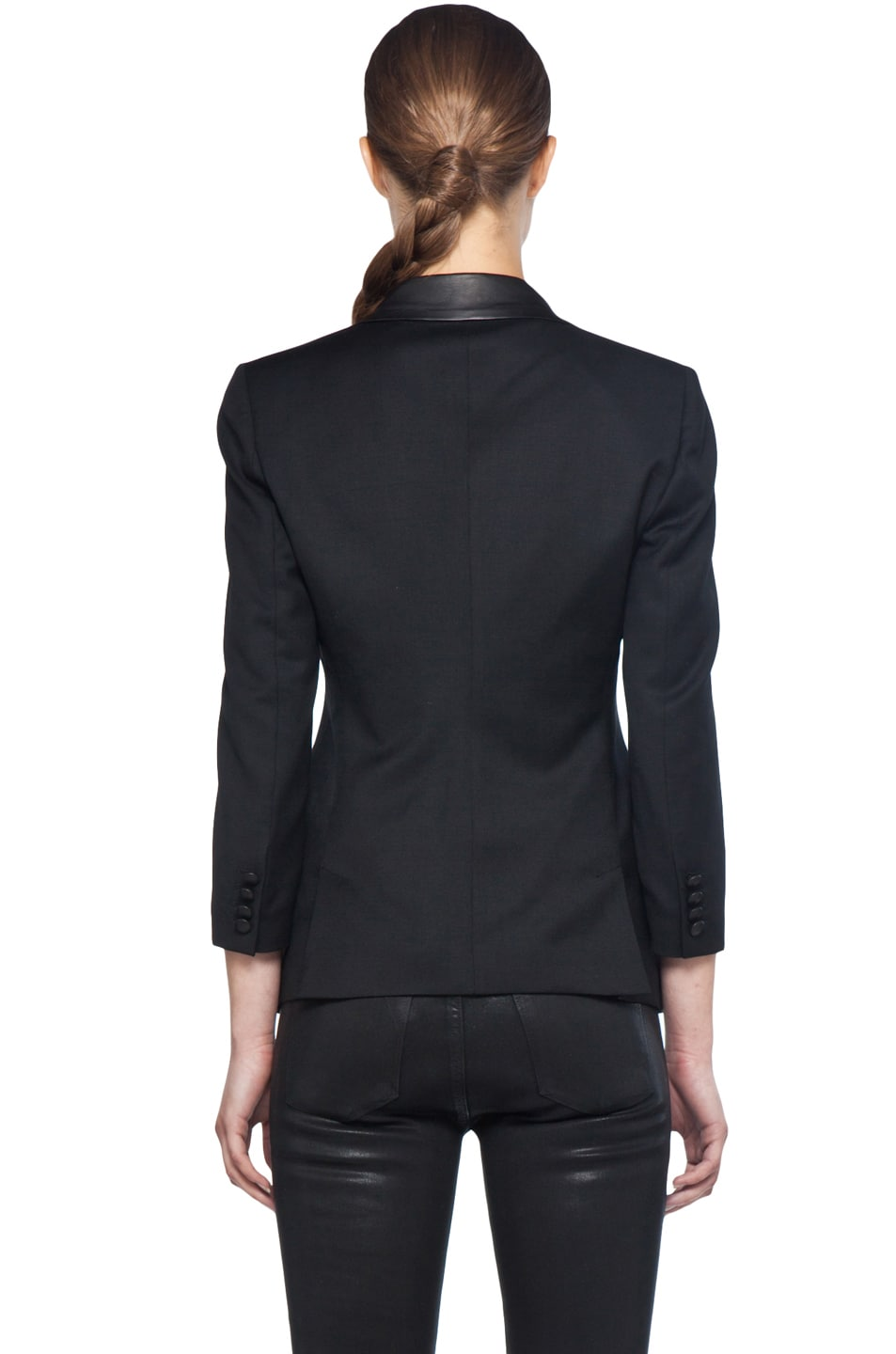 Image 5 of Boy Rope Shoulder Jacket with Leather Lapels in Black