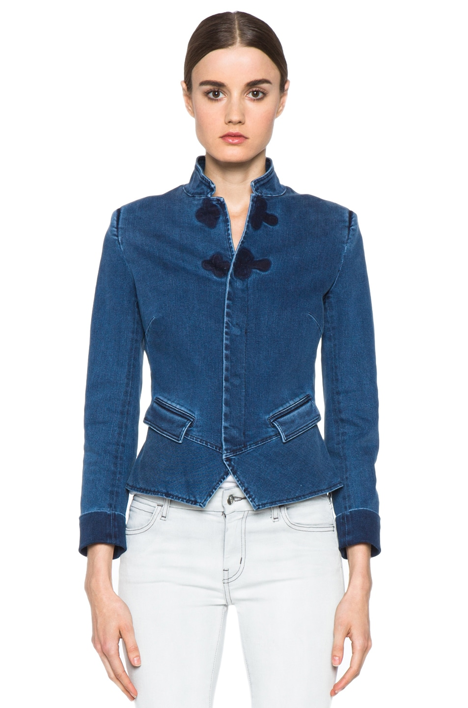 Image 2 of Boy. by Band of Outsiders Stand Collar Peplum Denim Jacket in Washed Blue