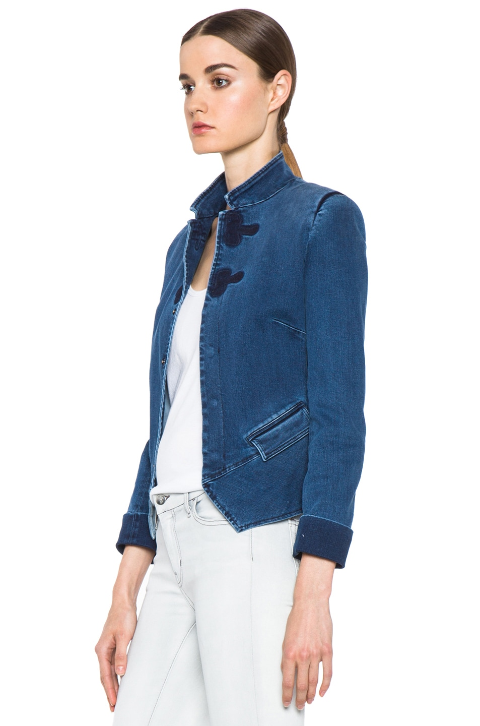 Image 3 of Boy. by Band of Outsiders Stand Collar Peplum Denim Jacket in Washed Blue