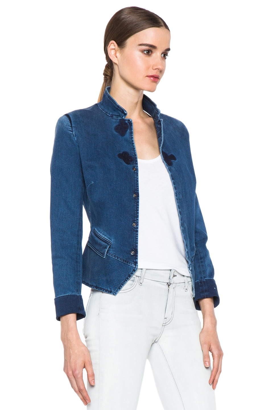 Image 4 of Boy. by Band of Outsiders Stand Collar Peplum Denim Jacket in Washed Blue