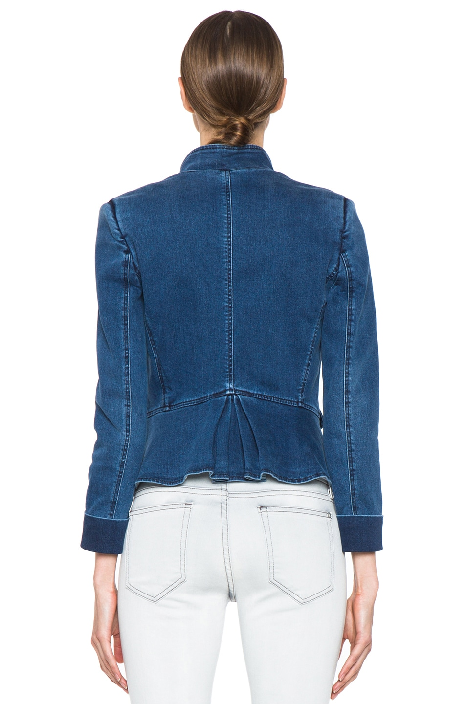 Image 5 of Boy. by Band of Outsiders Stand Collar Peplum Denim Jacket in Washed Blue