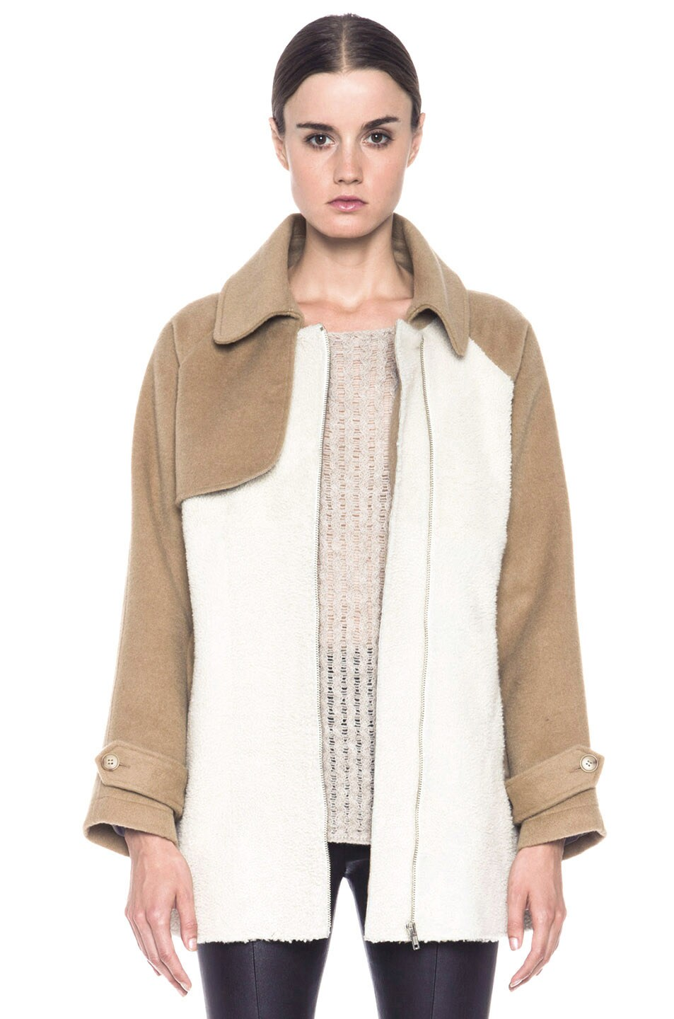 Image 1 of Boy. by Band of Outsiders Shearling Trench in Bone