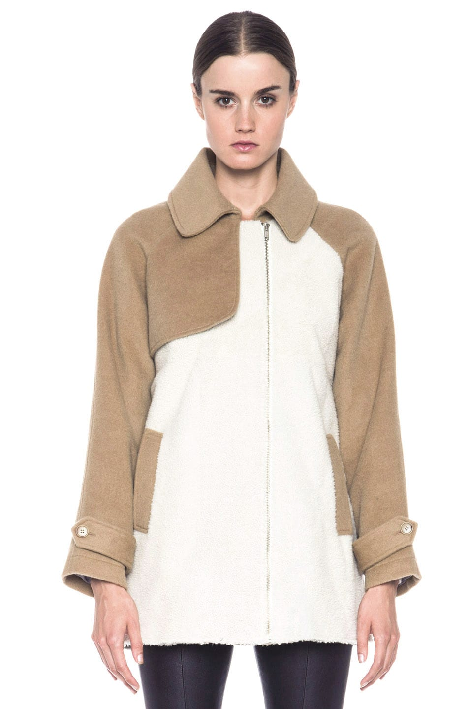 Image 2 of Boy. by Band of Outsiders Shearling Trench in Bone