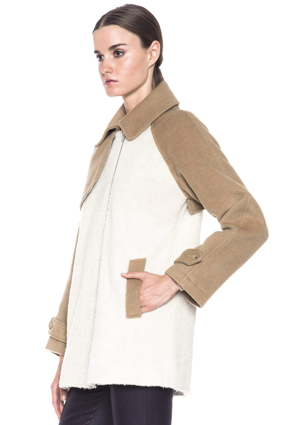 Image 3 of Boy. by Band of Outsiders Shearling Trench in Bone