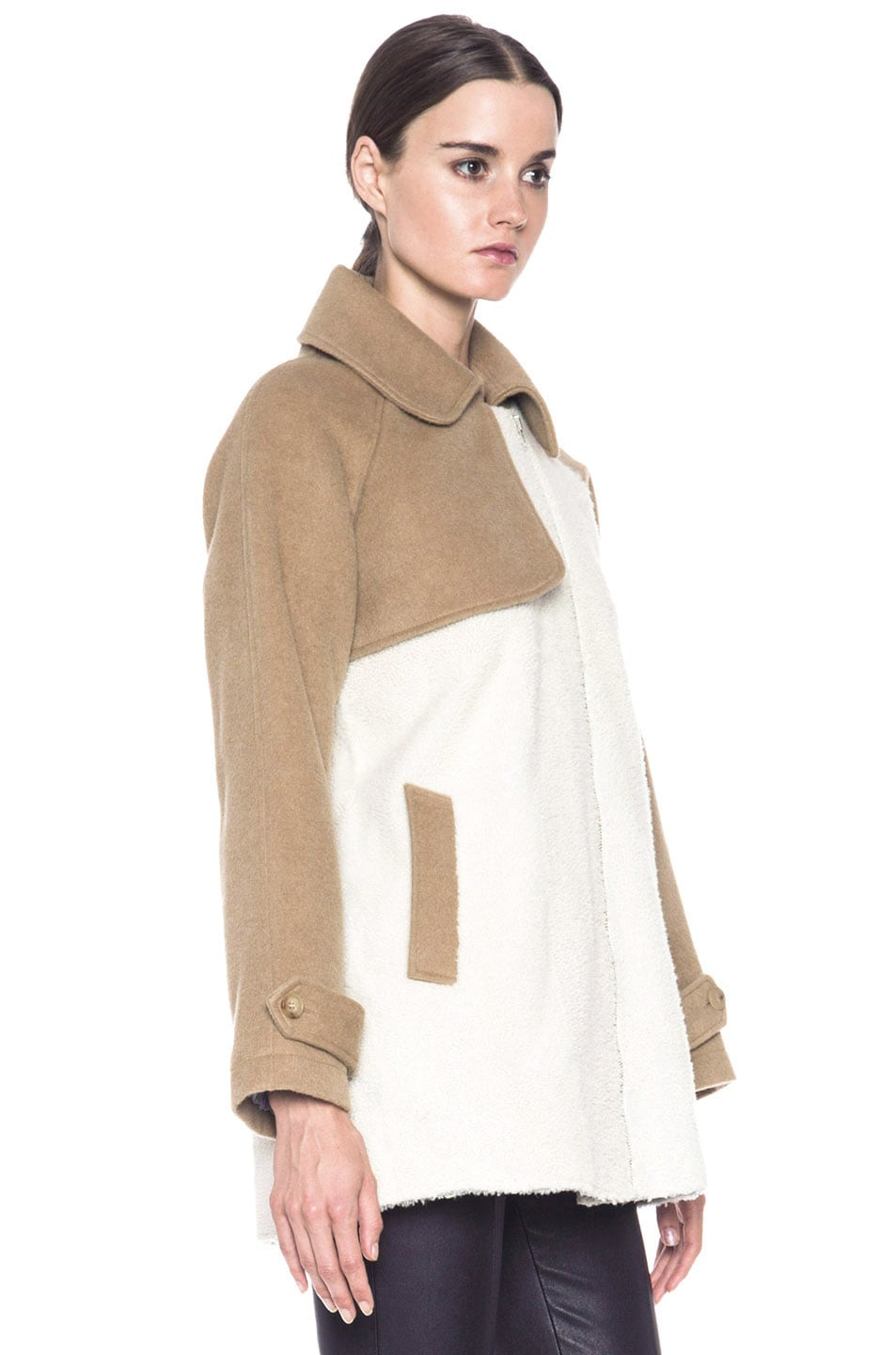 Image 4 of Boy. by Band of Outsiders Shearling Trench in Bone