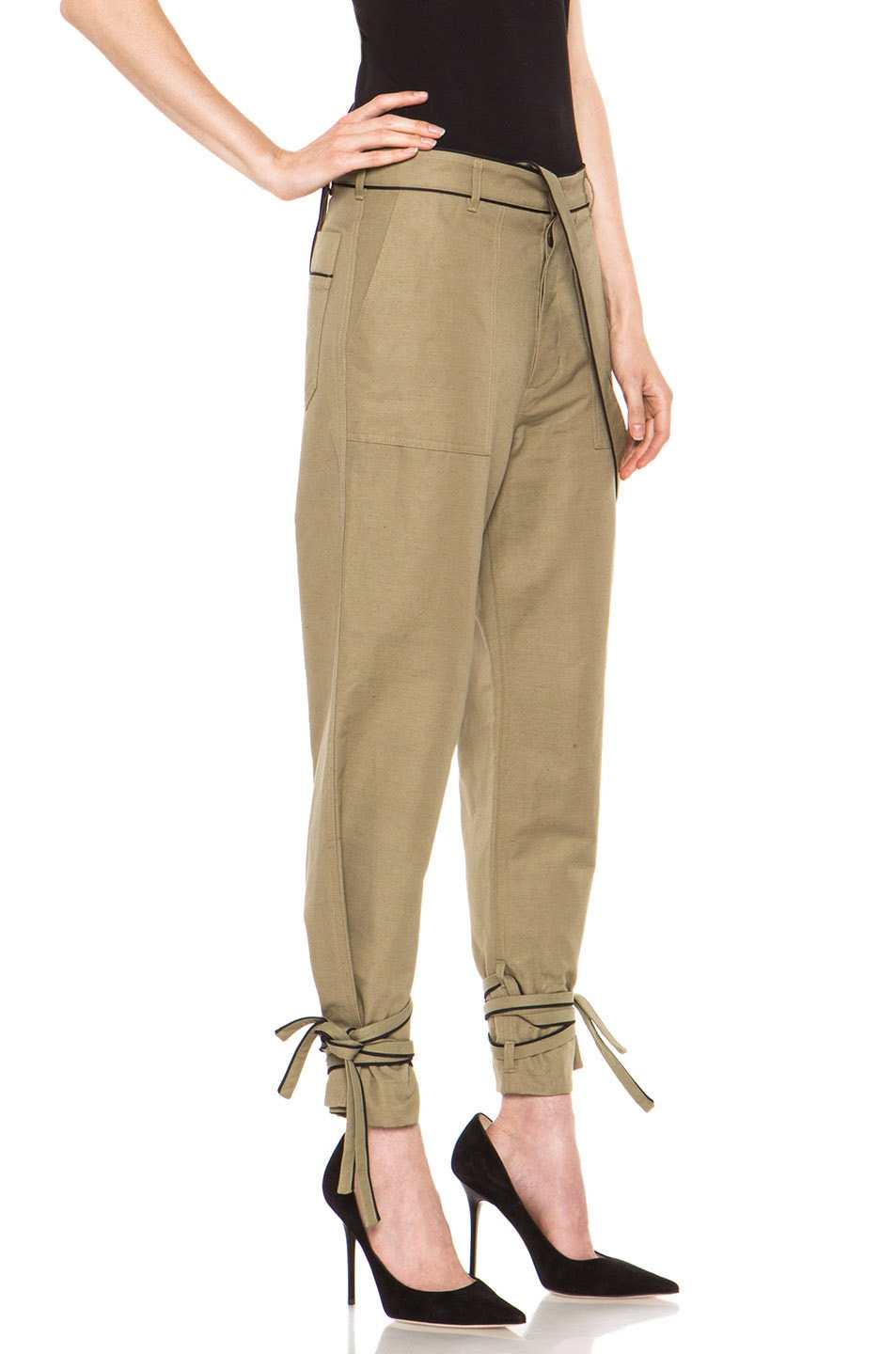 Image 3 of Boy. by Band of Outsiders Drape Military Pant in Green
