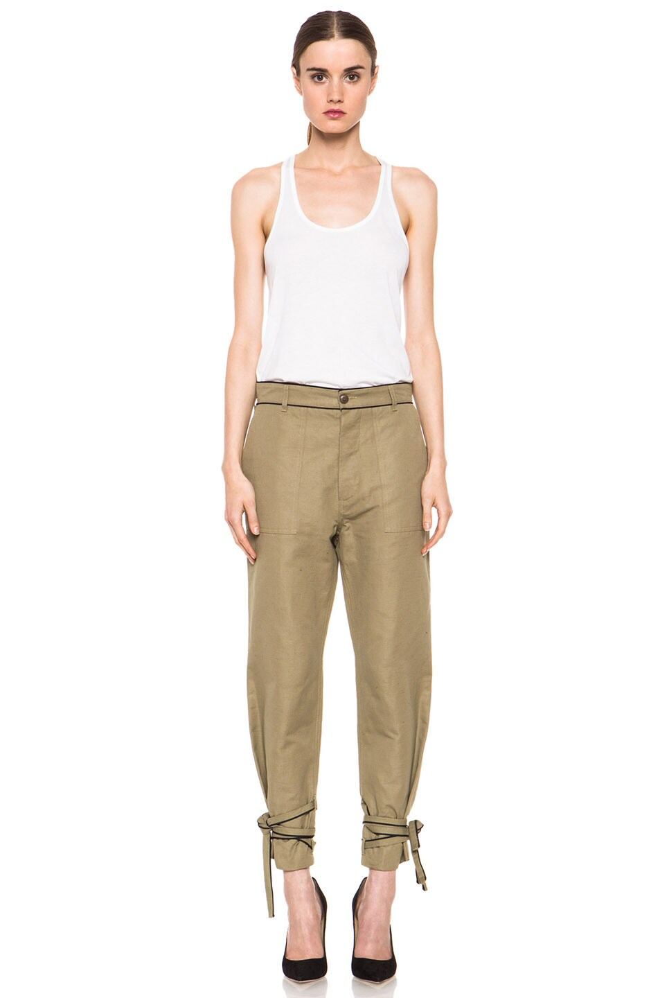Image 6 of Boy. by Band of Outsiders Drape Military Pant in Green