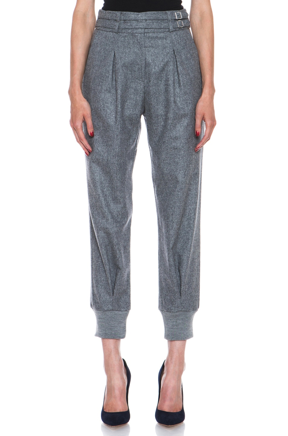 Image 1 of Boy. by Band of Outsiders Flannel High Waisted Pants in Grey