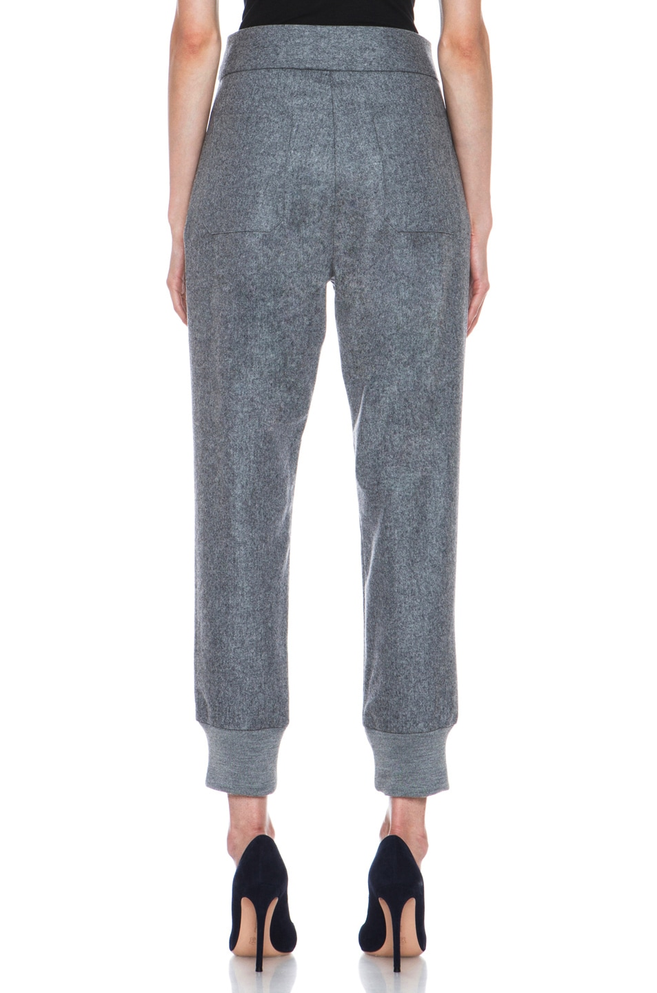 Image 4 of Boy. by Band of Outsiders Flannel High Waisted Pants in Grey