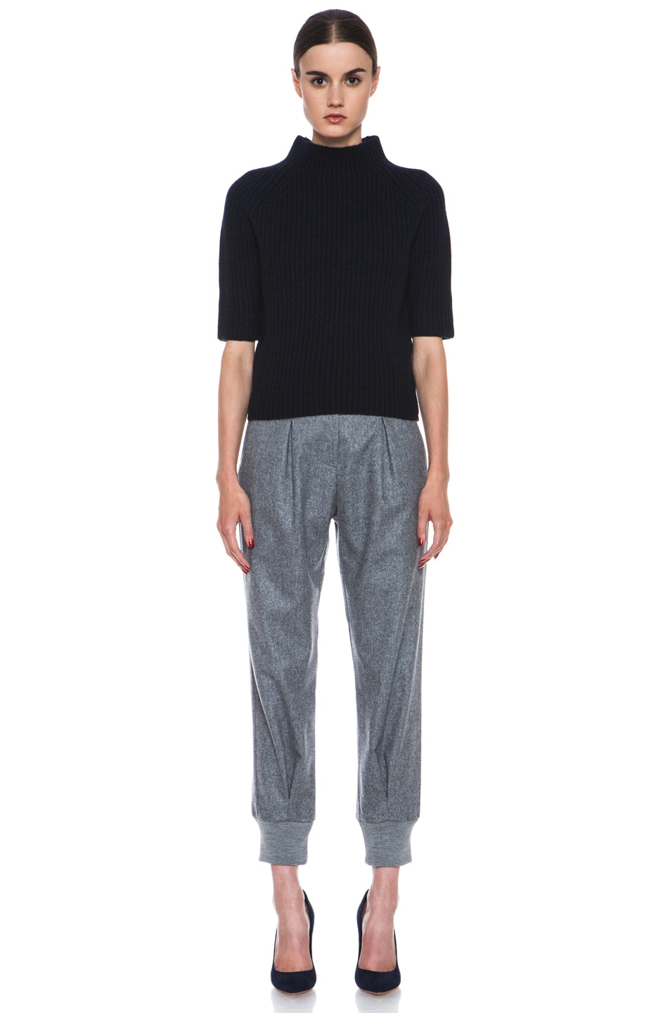 Image 5 of Boy. by Band of Outsiders Flannel High Waisted Pants in Grey