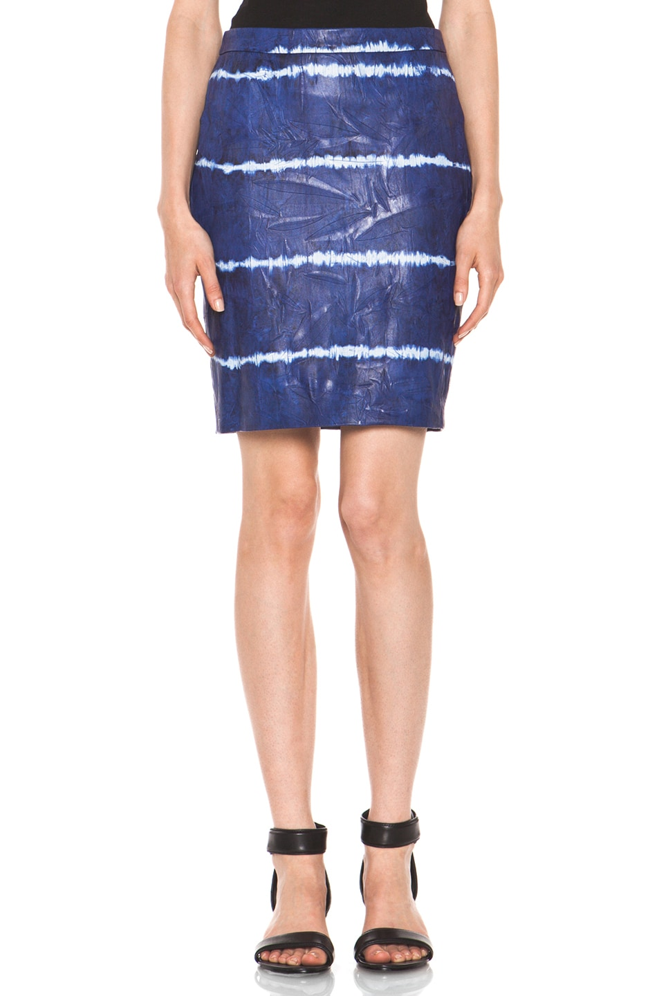 Image 1 of Boy. by Band of Outsiders Leather Pencil Skirt in Blue Tye Dye