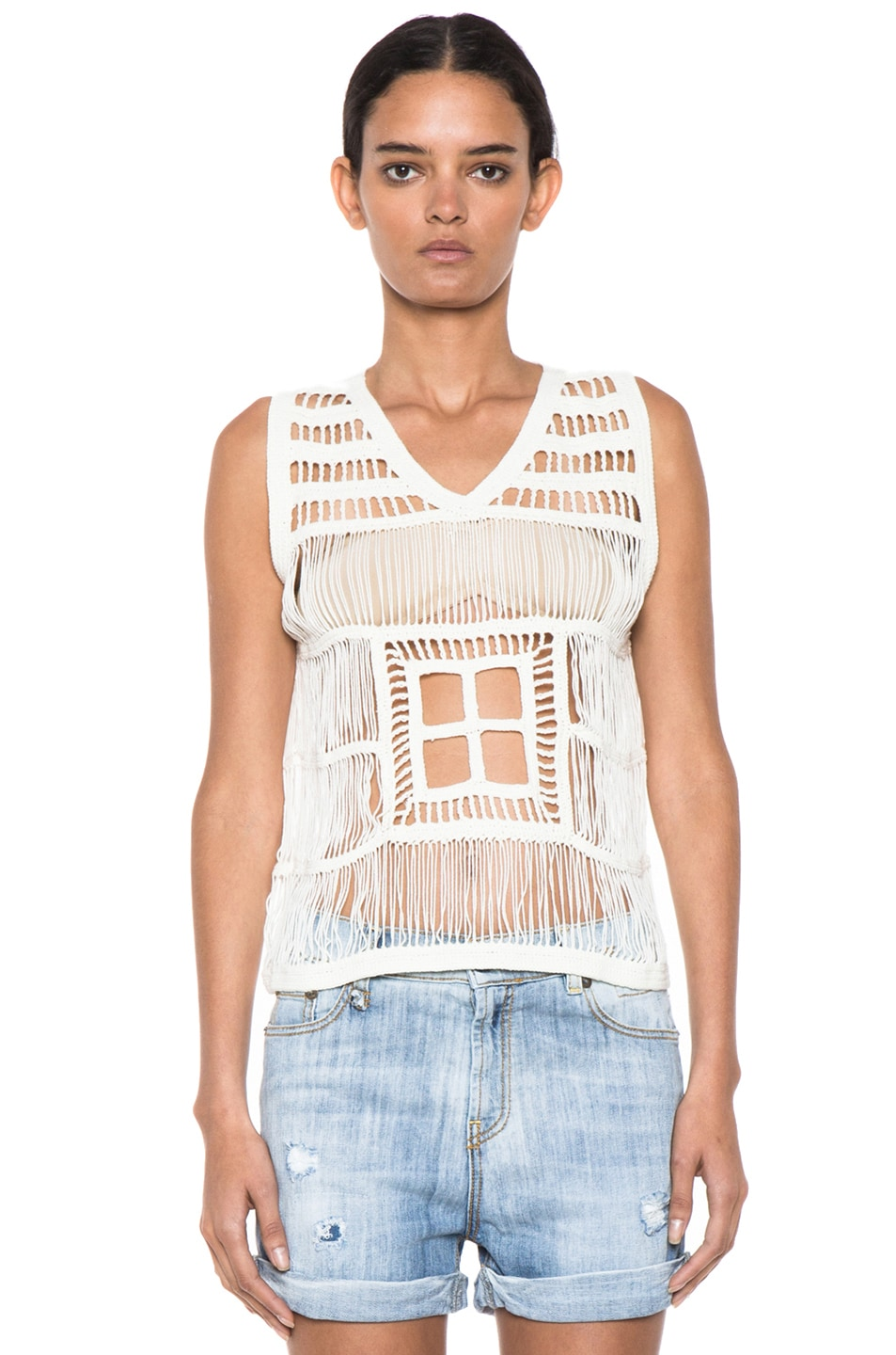 Image 1 of Boy. by Band of Outsiders Macrame V Neck Tank in Ecru