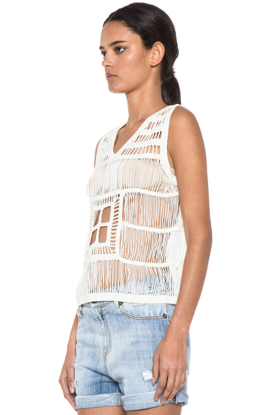 Image 2 of Boy. by Band of Outsiders Macrame V Neck Tank in Ecru