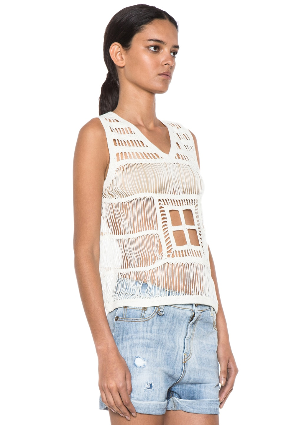 Image 3 of Boy. by Band of Outsiders Macrame V Neck Tank in Ecru