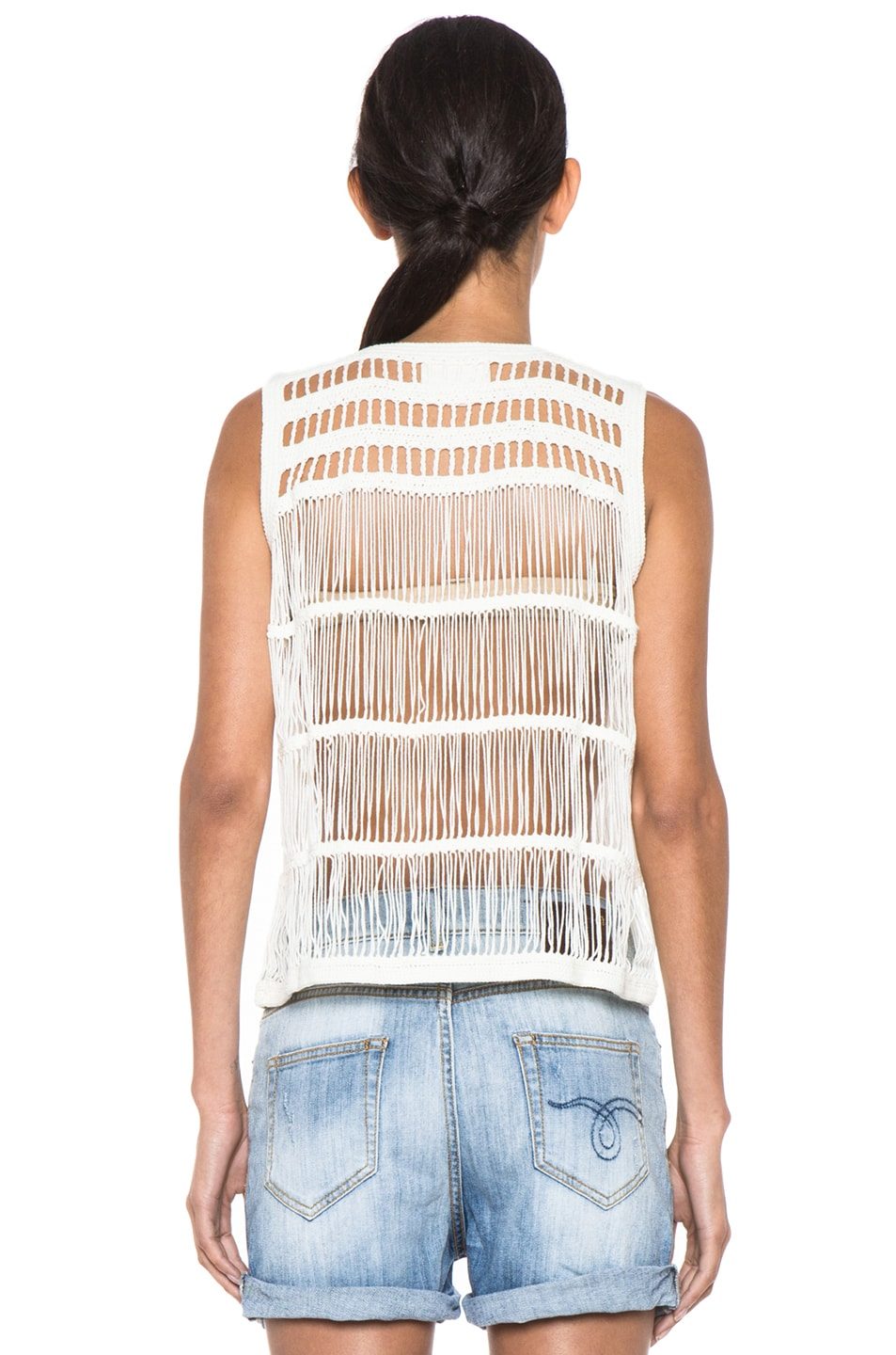 Image 4 of Boy. by Band of Outsiders Macrame V Neck Tank in Ecru