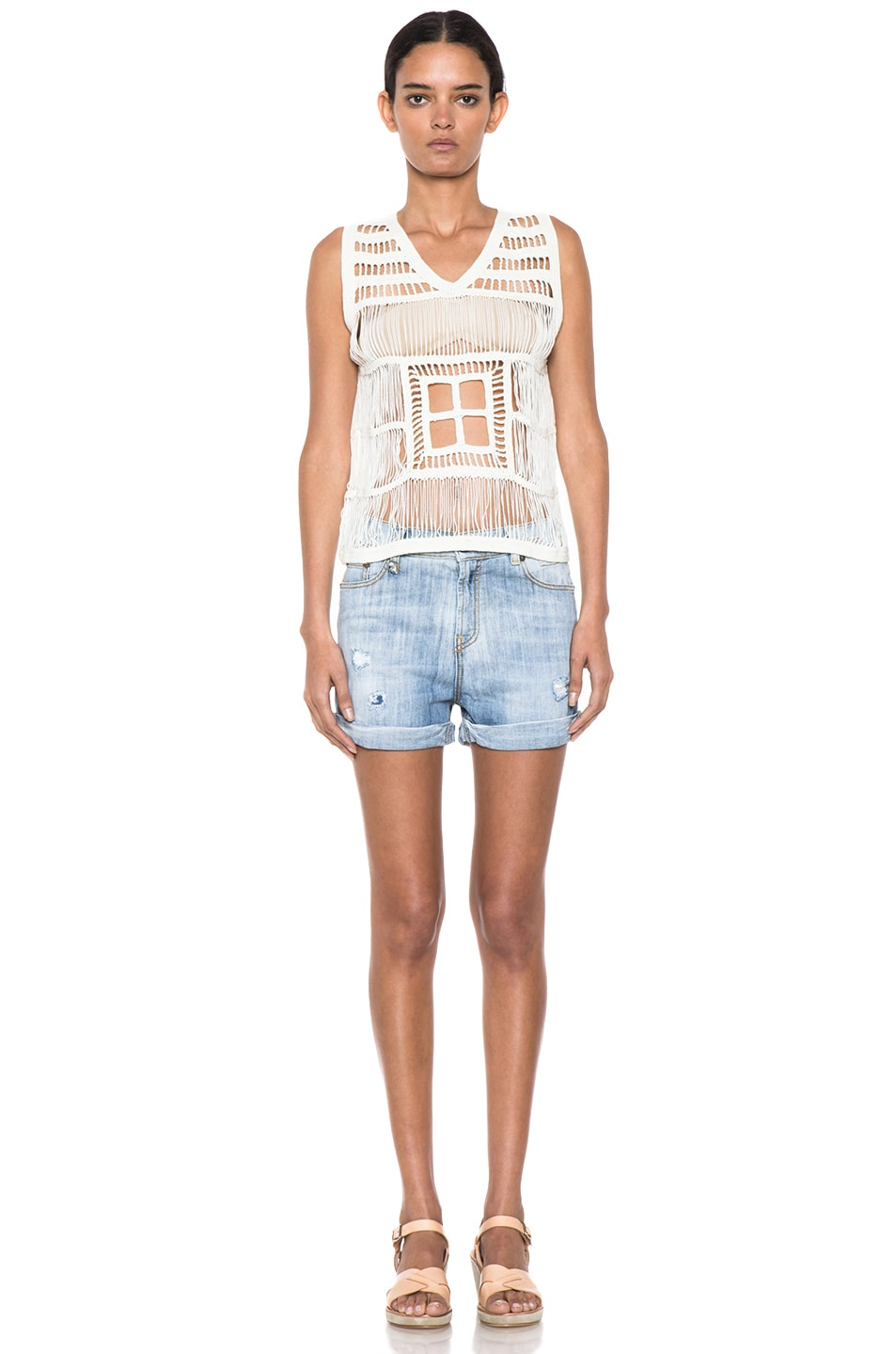 Image 5 of Boy. by Band of Outsiders Macrame V Neck Tank in Ecru
