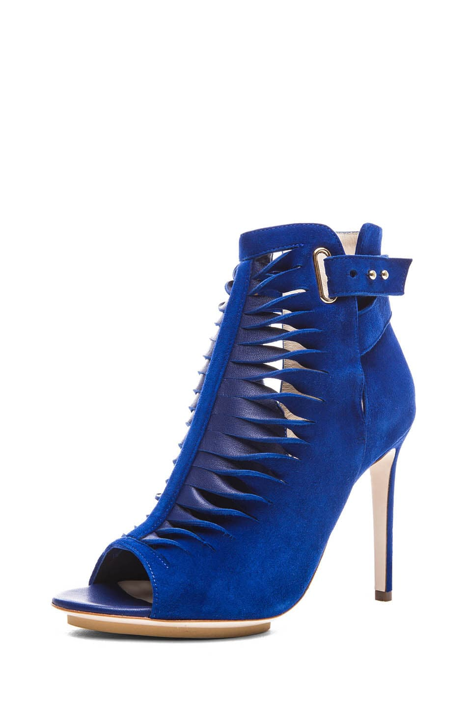 Image 2 of BURAK UYAN Suede and Lambskin Booties in Blue