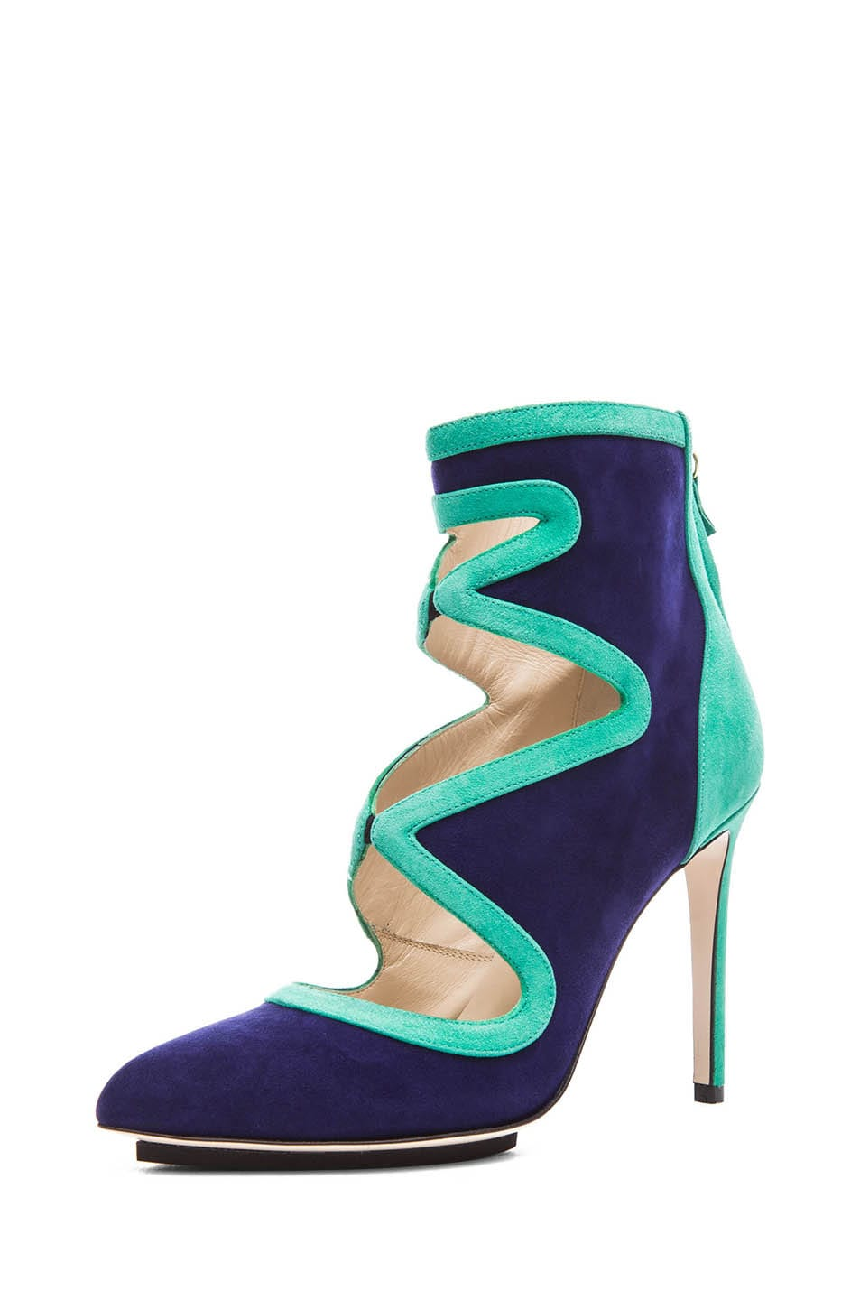 Image 2 of BURAK UYAN Bicolor Suede Booties in Green & Blue