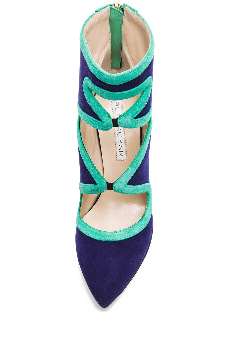 Image 4 of BURAK UYAN Bicolor Suede Booties in Green & Blue