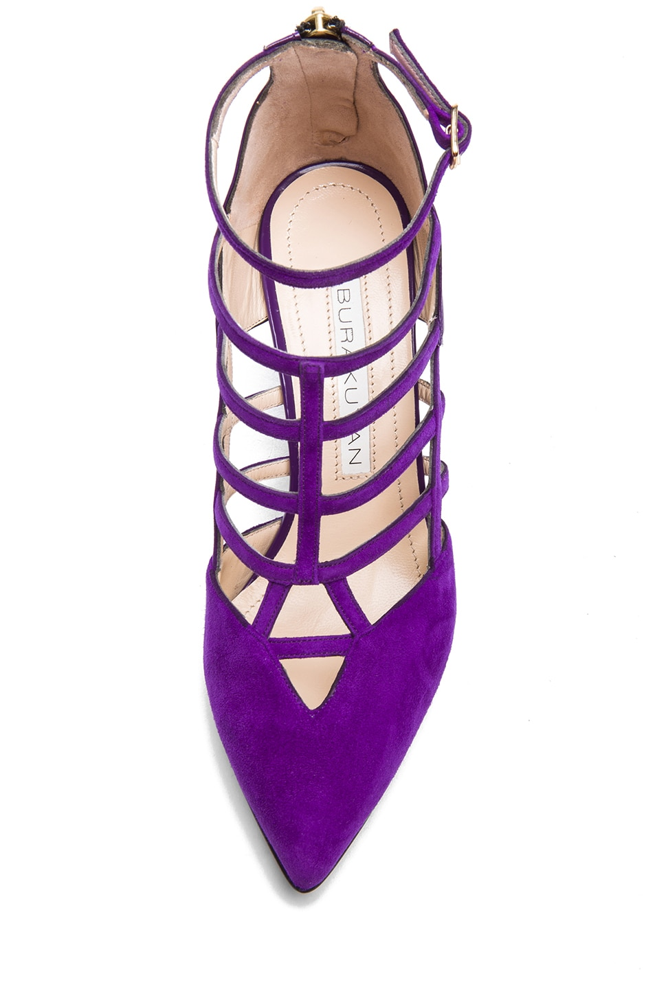 Image 4 of BURAK UYAN Suede and Patent Leather Heels in Violet