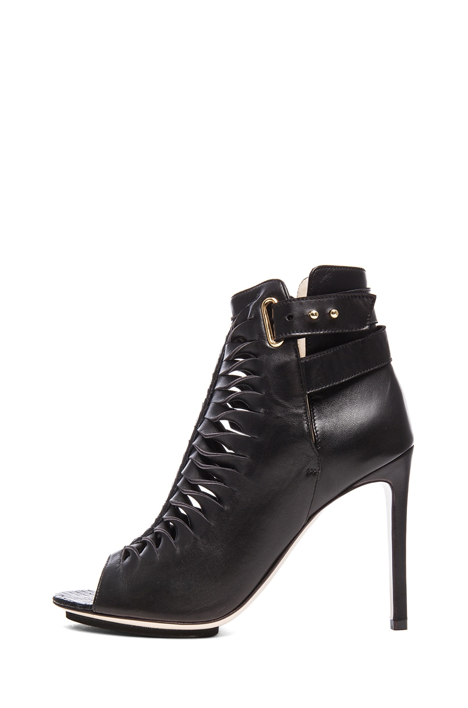 Image 1 of BURAK UYAN Watersnake and Lambskin Booties in Black
