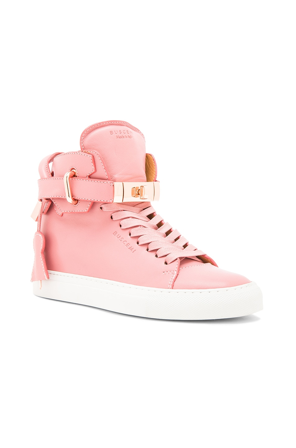 Image 2 of Buscemi 100MM Alta High Top Leather Sneakers in Coral