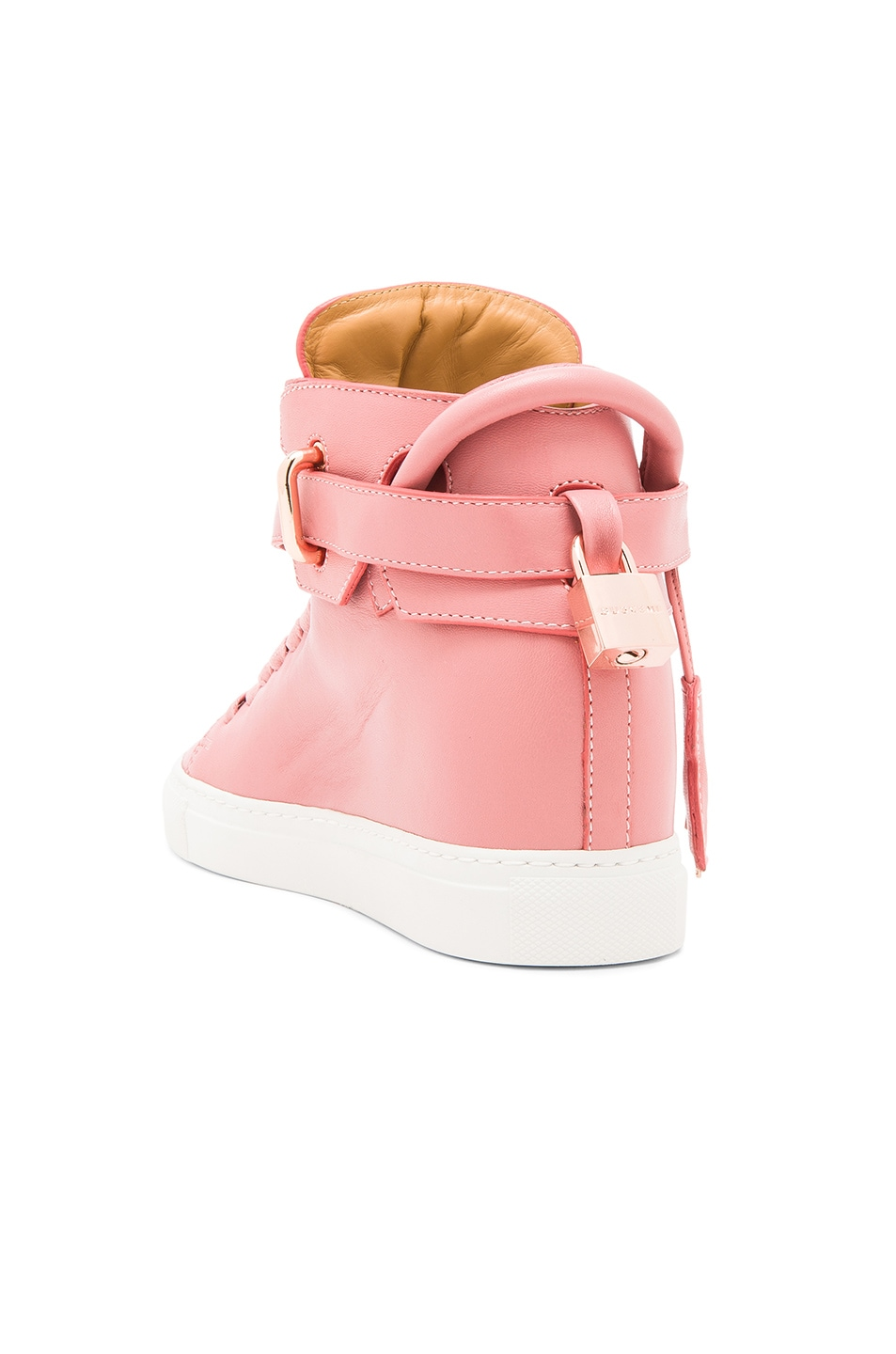 Image 3 of Buscemi 100MM Alta High Top Leather Sneakers in Coral