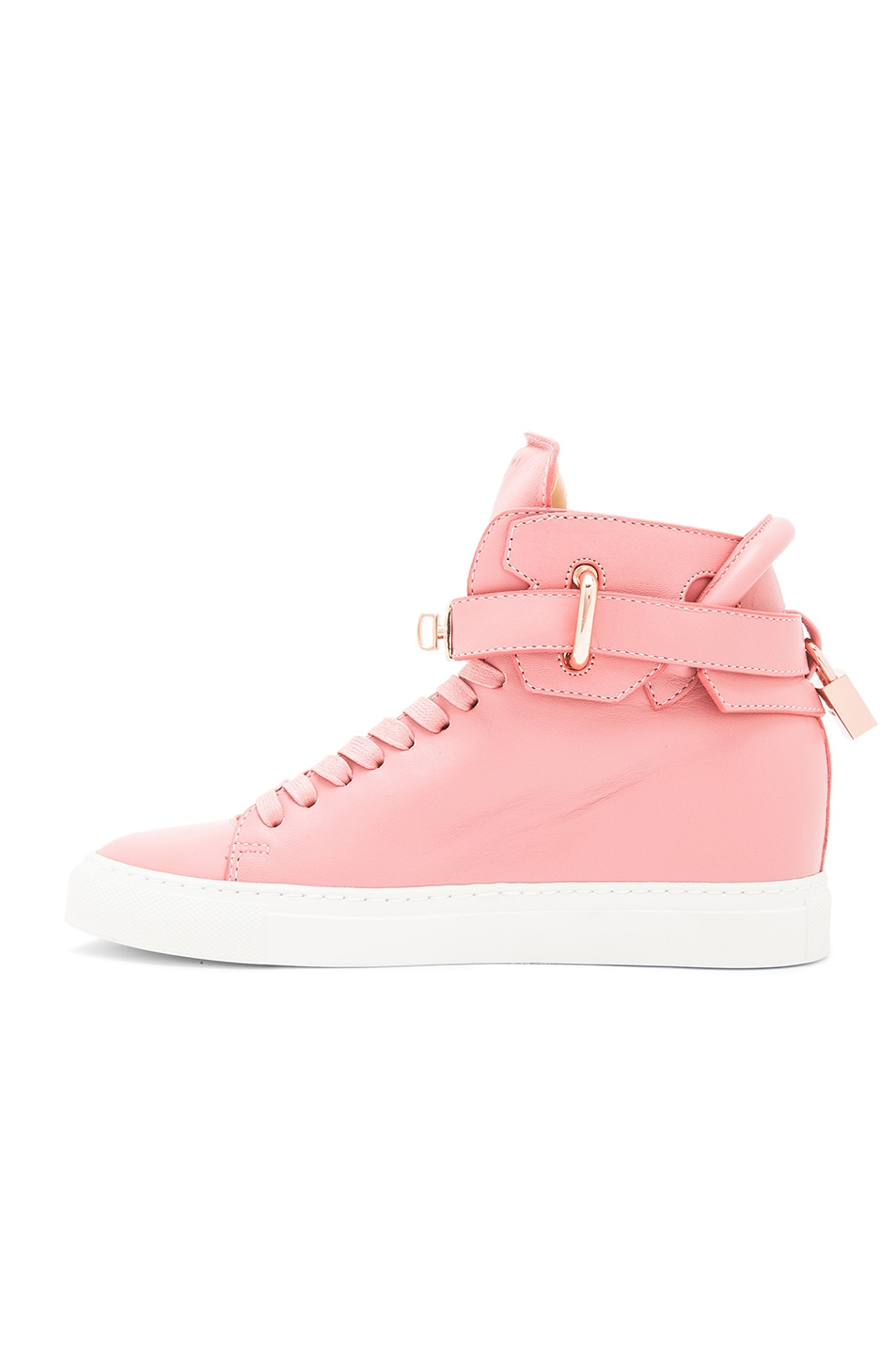 Image 5 of Buscemi 100MM Alta High Top Leather Sneakers in Coral