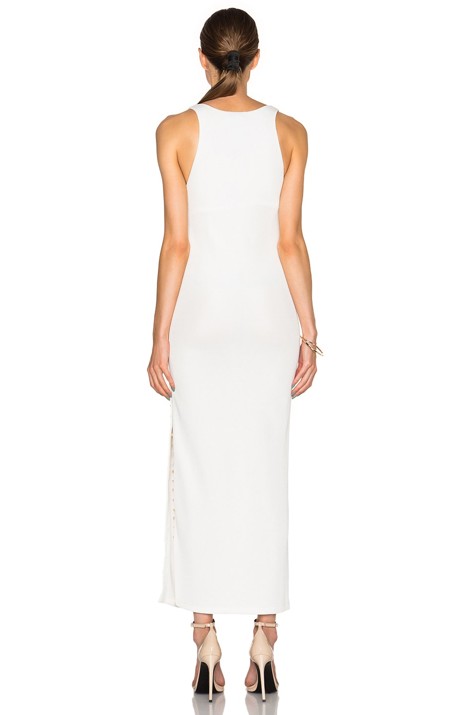 Image 4 of Calvin Klein Collection Fiana Structured Jersey Maxi Dress in White