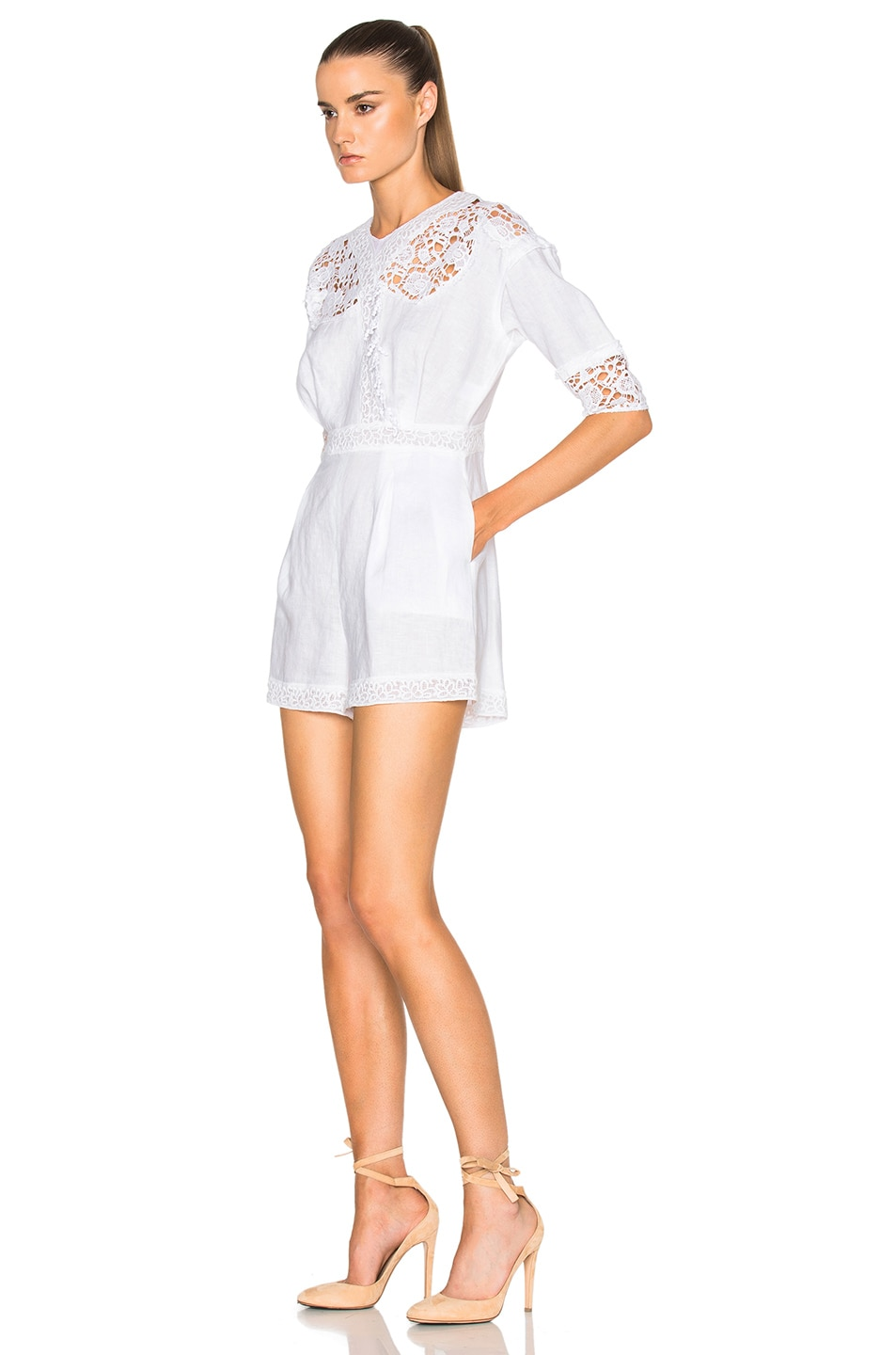 Image 2 of Carisa Rene by Nightcap Victorian Linen Jumpsuit in Vintage White