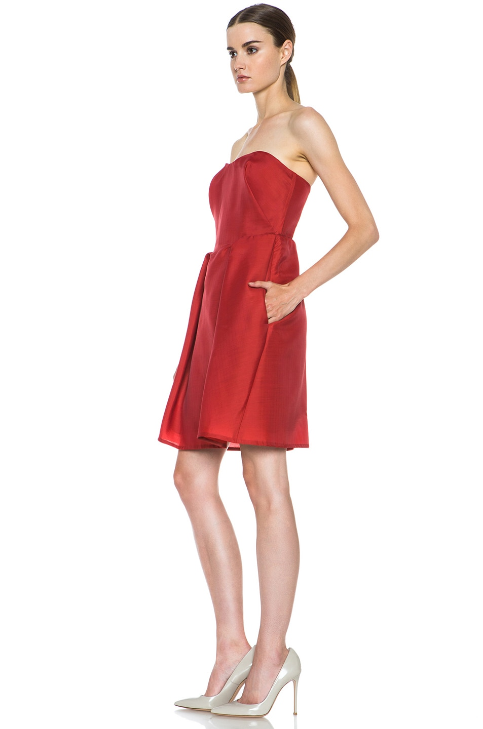 Image 2 of Carven Wool Gazar Sweetheart Dress in Strawberry