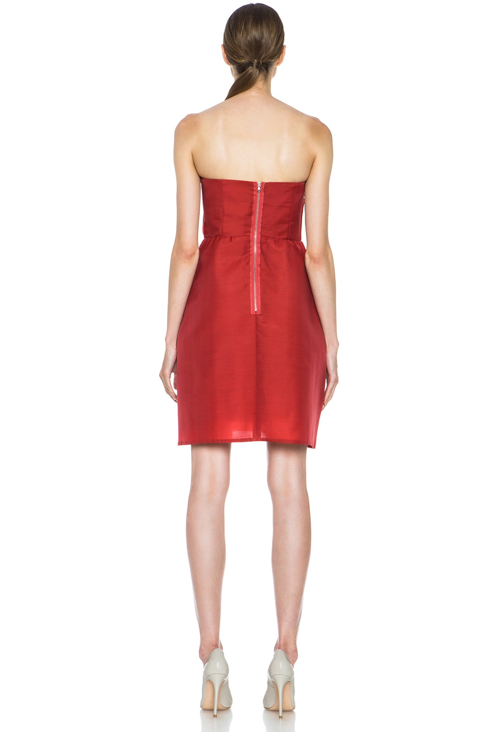 Image 4 of Carven Wool Gazar Sweetheart Dress in Strawberry