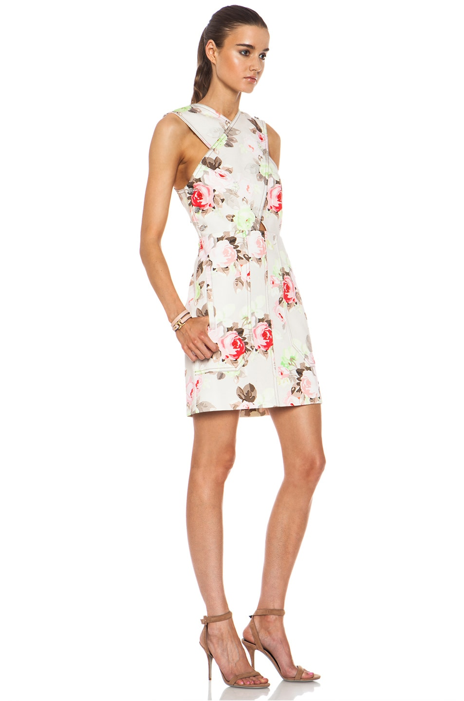 Image 3 of Carven Floral Criss Cross Dress in Sand