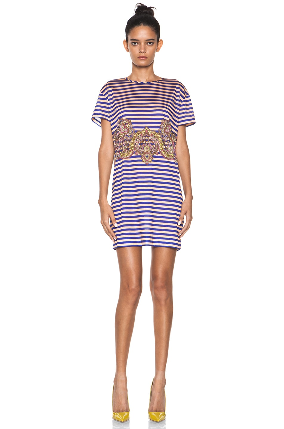Image 1 of Carven Striped Jersey/Cashmere Dress in Ink